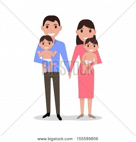 Vector illustration of a cute cartoon young family with twins. Parents holding their twin babies. Mother father and two at a birth child. Drawing, picture isolated on white background. Flat style.