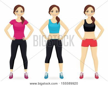 Young fit woman in different sportswear standing isolated