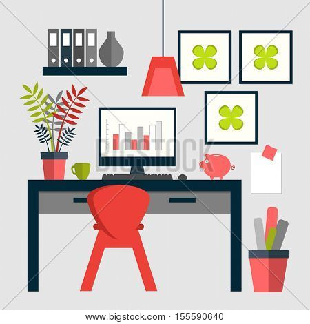 Flat design of trendy home office layout.