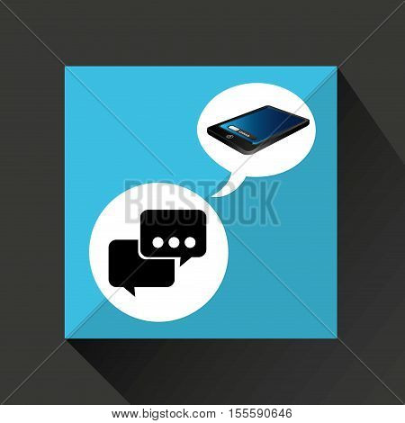 smartphone blue screen unlock bubble speech vector illustration eps 10