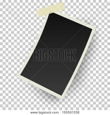 Realistic vector retro photo frame with straight edges on sticky tape. Template photo design.