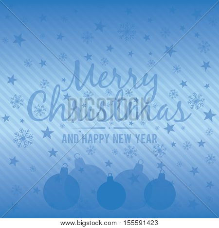 Holiday light blue background with Christmas balls. Vector illustration.