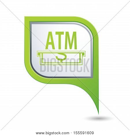 Map pointer with ATM cashpoint icon. Vector illustration