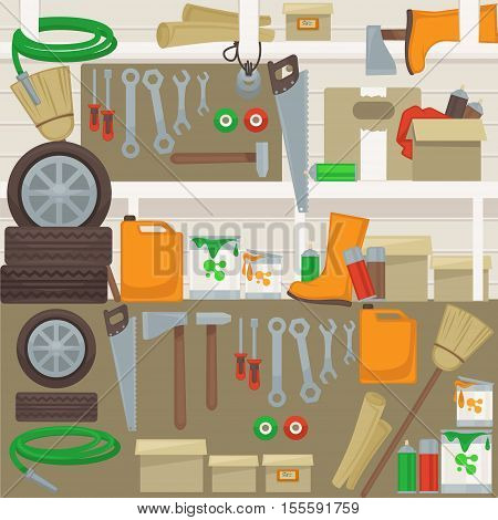 Work tools on wall in garage. Home set of construction and repair tools: hammer, drill and wrench, saw and screwdriver, pliers, brush and paint. Vector cartoon design banner.