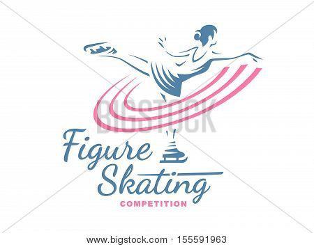 Figure Skating emblem illustration on white background