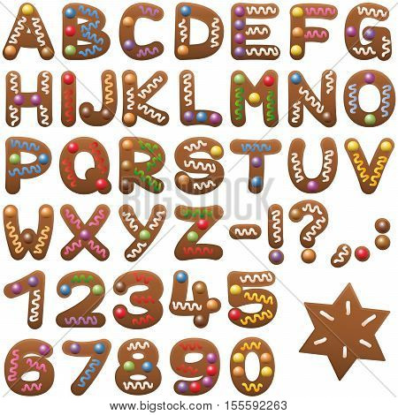 Gingerbread alphabet - sweet christmas cookie font.