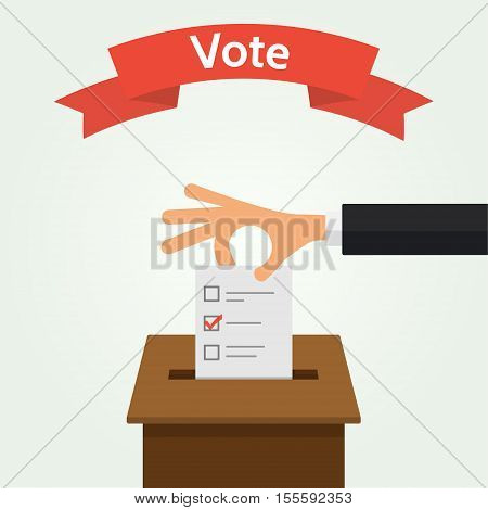 Hand putting voting paper in the ballot box. Elections concept flat style vector illustration. The red ribbon with the word - Vote.
