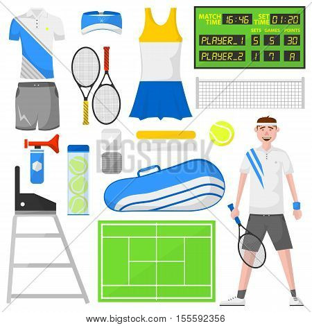 Set of cartoon tennis icons. Sports equipment and wear: ball and racket, field, court and player, bag and clothes: shirt and skirt. Vector isolated illustration in flat style. Activity and recreation concept.