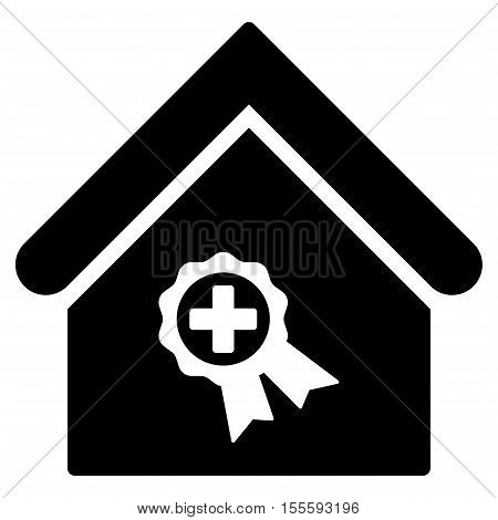 Certified Clinic Building vector icon. Flat black symbol. Pictogram is isolated on a white background. Designed for web and software interfaces.