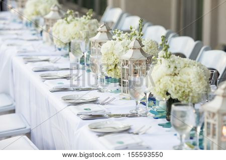 table set up for outdoor wedding reception