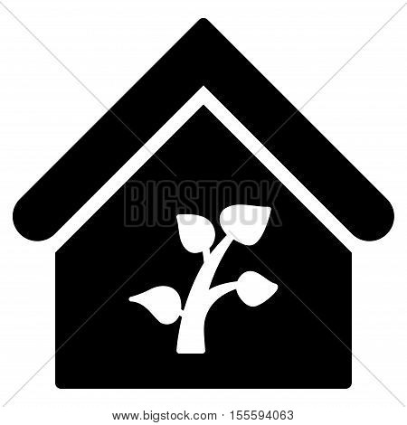 Greenhouse Building vector icon. Flat black symbol. Pictogram is isolated on a white background. Designed for web and software interfaces.