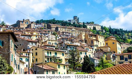 Cityscape of Cortona a medieval town in tuscany Italy