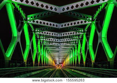9. october 2016 - Bratislava Slovakia: Old bridge ceremoniously lightened during