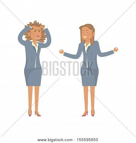 Business Woman in stress and relax. Hold Hands on Temples Head, Yoga, Concept of Stressed Businesswoman Headache Problem Concept Negative Emotion Office Flat Vector Illustration