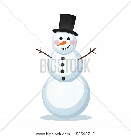 vector illustration of winter snowman in a top hat carrot hand branch. Holiday new year, christmas icon merry xmas isolated object on a white background December January February merry xmas