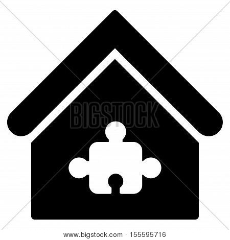 Puzzle Building vector icon. Flat black symbol. Pictogram is isolated on a white background. Designed for web and software interfaces.