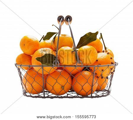 Oranges in metal wicker basket isolated on white