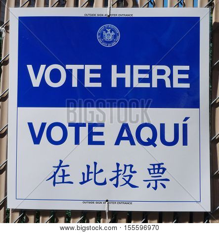 NEW YORK - NOVEMBER 8, 2016: Sign at the voting site in New York.The Voting Rights Act of 1965 is a national legislation in the United States that prohibits discrimination in voting