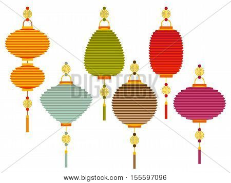 Set of colorful Chinese paper street lanterns in flat style. Vector illustration.