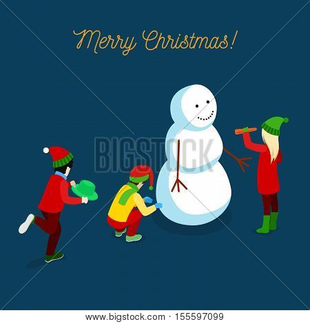 Merry Christmas Isometric Greeting Card with Children Making Snowman. Vector 3d flat illustration
