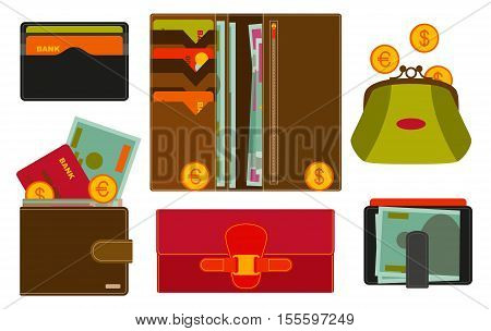 Various wallets with various compartments and money inside. Shopping icons in flat style. Vector illustration.