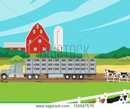 Loading herd of cows in the cattle trailer on a farm. Vector illustration
