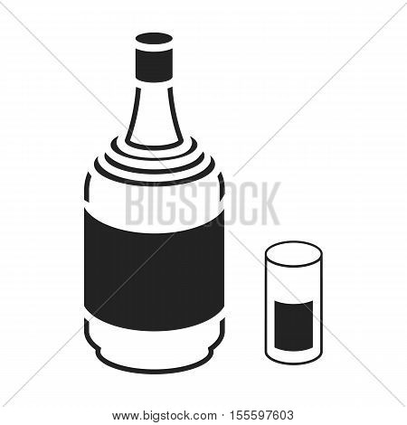 Gin icon in black style isolated on white background. Alcohol symbol vector illustration.