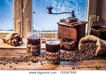Enjoy Your Hot Coffee In Winter Day