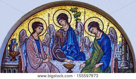 Budva, Montenegro - Sep 3, 2016: Mosaic icon of Holy Trinity in Orthodox Church in Budva, Montenegro