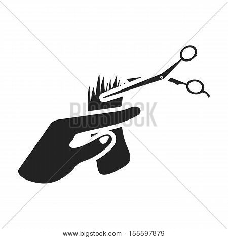 Hair cutting icon in black style isolated on white background. Hairdressery symbol vector illustration.
