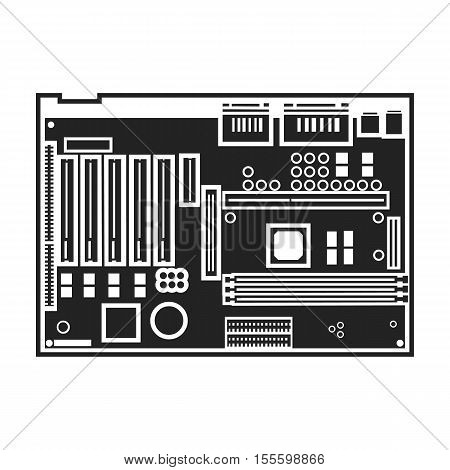Motherboard icon in black style isolated on white background. Personal computer symbol vector illustration.