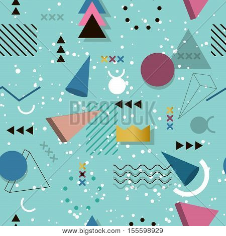 Memphis pattern seamless of geometric shapes for tissue and postcards. Hipster poster juicy bright color background. Abstract fashion geometric graphic style 80s memphis pattern vector.