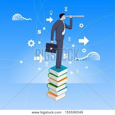 Power of knowledge business concept. Confident businessman in suit with case stand on top of book pile with looking glass. Search for opportunity contacts new fields development.