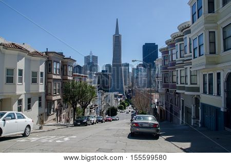 Skyline Of Downtown Areas Of San Francisco