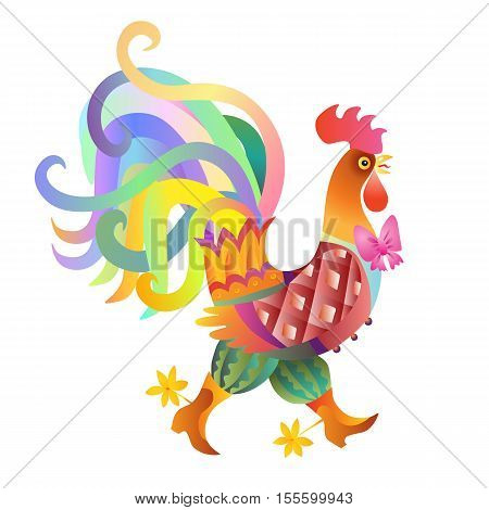Fairy rooster with bow on white background - chinese symbol of 2017 year. Vector illustration.