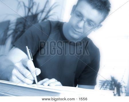 person writing poster