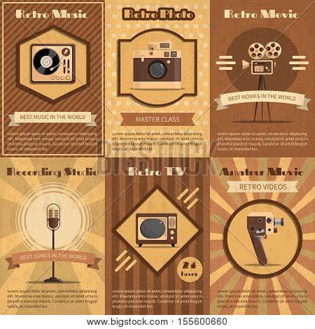 Retro poster set with vintage music radio and tv devices in brown tones vector illustration
