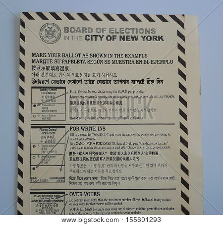 NEW YORK - NOVEMBER 8, 2016: Board of Elections in the City of New York instructions at the voting site in New York.