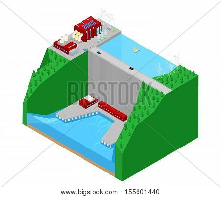 Isometric Hydroelectric Plant Factory Electric Power Station. Vector 3d flat illustration