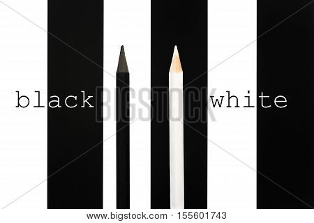 Black And White Penciles Standing Out From Crowd On Bw Stripe Background. Business Success Concept O