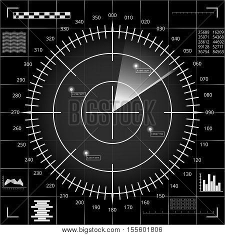 Digital radar screen with targets and futuristic user interface of black grey and white shades