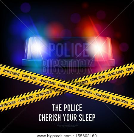Police crime scene with yellow tape red and blue flashing siren realistic vector illustration