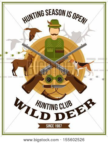 Shooting hunting poster with hunter guns binoculars horn knife dog deer and duck vector illustration