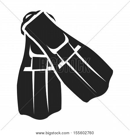 Flippers icon in black style isolated on white background. Sport and fitness symbol vector illustration.