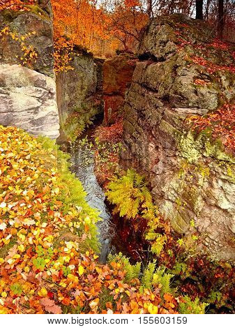 Small romantic Brehynska prurva chasm in Macha's land in autumnal czech nature