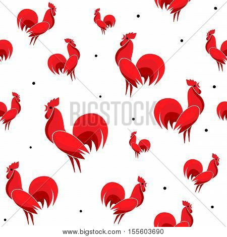 Vector illustration of Red Roosters seamless pattern with dots. Cock isolated on white background. Endless backdrop for new year 2017