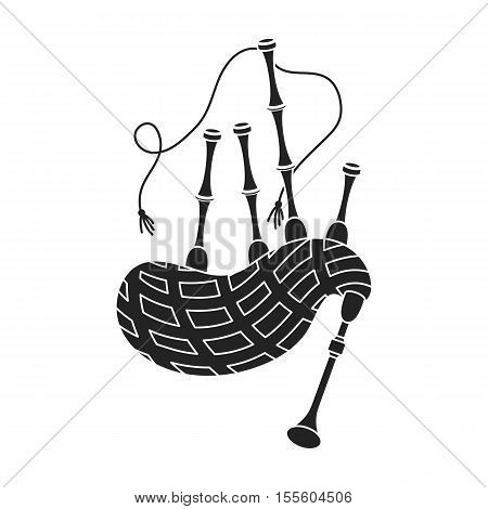 Bagpipes icon in black style isolated on white background. Musical instruments symbol vector illustration