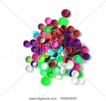 color background from the caps of pet bottles