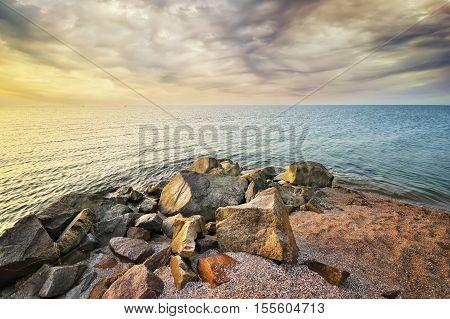 Seashore rocks. Beautiful seascape. beautiful big stones seashore. Rock on coast. Nature composition