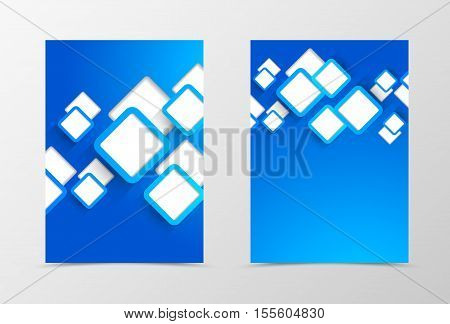Front and back dynamic flyer template design. Abstract template with blue cut out squares in geometric style. Vector illustration
